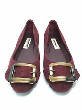 100% AUTHENTIC NEW BURBERRY MAHOGANY RED SUEDE LEYGREEN FLATS RETAIL $520