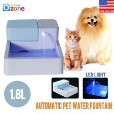 LED Automatic Dogs Pet Cats Water Drinking Filter Fountain Bowl Drinker