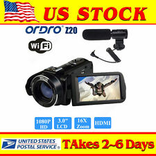 "ORDRO HDV-Z20 3"" LCD Digital WiFi Video Camera Camcorder Full HD 1080P 16X Zoom"