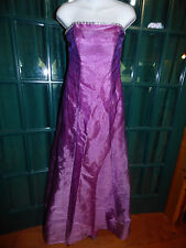 ALFRED ANGELO STRAPLESS BEADED ORGANZA PURPLE FORMAL BALL GOWN w TRAIN   SIZE 4