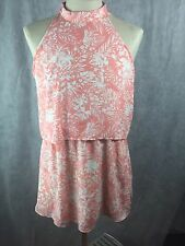 Paper Crane Anthropology Dress Size L Peach White Palm Leaf Halter Neck  Z