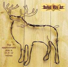 Buck - antler doe hunting hanging deer barbed wire art western decor wall