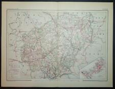 1891 ANTIQUE PRINT COLOUR MAP of CORRÈZE Tulle FRANCE French CARTE