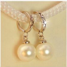 Womens White Pearl Dangle Ear Stud Earrings Silver Plated Fashion Jewelry
