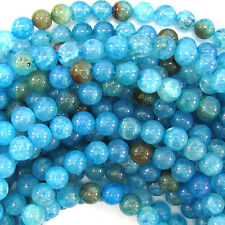 "8mm blue crab fire agate round beads 15"" strand"
