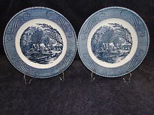 "Currier Ives Royal China Dinner Plate Old Grist Mill 10"" TWO EXCELLENT!"