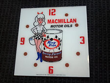 "*NEW* 15"" MACMILLAN GIRL OIL GASOLINE HOT ROD SQUARE GLASS clock FACE FOR PAM"