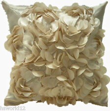 3D Rose Patterned Decoration Cushion Cover Pillow Case Gold Cream Ivory Home UK