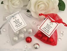 Personalised Wedding Favour - Chocolate Balls in Organza Bags
