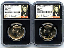 2014 P & D KENNEDY 50TH ANNIVERSARY NGC SP68 CLAD HIGH RELIEF HALF DOLLAR SET