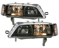 94-97 Accord JDM SIR BLACK Head Lights PAIR DEPO 95 w/ Clear Corner Side Lamps