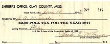 Very Rare - Year 1947 Mississippi Poll Tax Receipt, Clay County Sheriff's Office