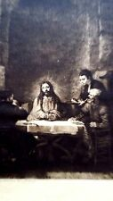 Rembrandt Heliogravure France 1800,s 8.25x11.9 on Japon Supper Emmaus 1648