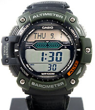 Casio SGW300HB-3AV Altimeter Thermometer Watch World Time Green Cloth Band New