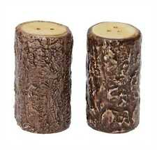 Dolomite Tree Stump Log Shaped Salt & Pepper Shaker Set Adirondack Rustic Cabin