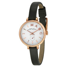 Marc by Marc Jacobs Sally White Dial Black Leather Ladies Watch MBM1352