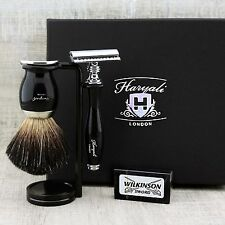 SHAVING SET Black Badger Brush & Safety Razor CLASSIC GROOMING KIT Gift for Him