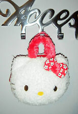 BRAND NEW Hello Kitty Soft Toy Fluffy Cosmetic Bag Case Purse Plastic Zip