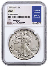 1988 American Silver Eagle NGC MS69 (Mercanti Signed Label) SKU40876