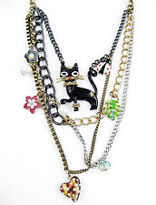 BETSEY JOHNSON Black Morocco Cat Ladybug Heart Multi-Row Layered Necklace