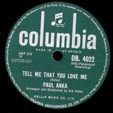 "PAUL ANKA Tell me that you love me ""Juke-Box-Hit"" / I love you Baby  78rpm S3643"