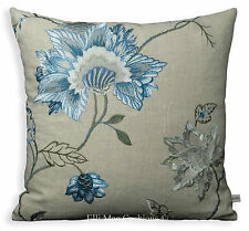 GP & J Baker Cymbeline Blue Embroidered Floral Fabric Cushion Pillow Cover