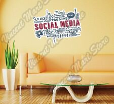 "Social Media People Trend Friends Word Wall Sticker Room Interior Decor 25""X18"""