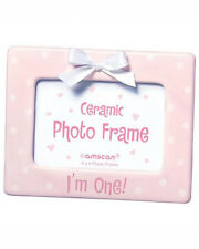 """I'm One!"" Ceramic 4"" X 6"" Picture Frame - Pink with White Ribbon"