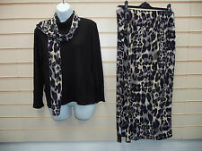 LADIES ANIMAL PRINT TWIN SET POLO NECK / SKIRT & SCARF SZ 14 BNWT