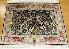 Black Handmade Rug 4' x 3' Silk Artistic NAture Print Tree of Life, WILDLIFE RUG
