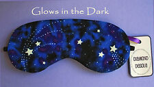Eye Sleep Mask, Cotton Blue Stars in Space Galaxy Glow in the Dark Gift UK made