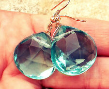 USA SELLER - AQUA BLUE QUARTZ Faceted Earrings Turquoise Color Gems Gold Silver