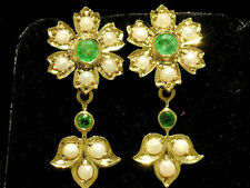 CE138 - SUPERB Genuine 9ct SOLID Gold NATURAL Emerald & Pearl Blossom Earrings
