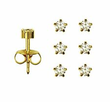3prs 24K Gold Over Surgical Steinless Steel Prong April RD3.0mm Stud Earrings