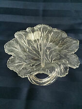 Vintage divided relish dish clear indiana glass pebble leaf pattern 8""