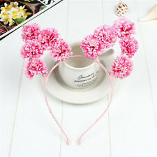 Pink Rose Flower Cat Animal Ears Headband Kawaii Pastel Goth Hair band Prop