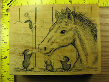 Rubber Stamp House Mouse Pony Treat Stampa Rosa Stampinsisters #1100