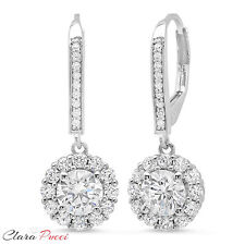 3.45CT Sim Round CUT Halo PAVE DROP DANGLE LEVERBACK EARRINGS 14K WHITE GOLD