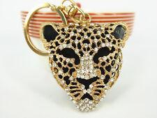 KC007 Leopard Head KeyChain Rhinestone Crystal Keyring Charm Pendant Gift N