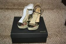 Kenneth Cole Wedge Sandals Shoes Women Sz 10 Natural Edge Ur Bet Leather New NIB