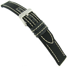 24mm Hadley Roma Black Genuine Kevlar Leather White Stitched Mens Watch Band 848