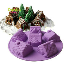 3D 6-Christmas House Silicone Fondant Cake Mould Chocolate Baking Trays Mold