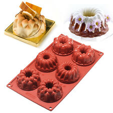 6-Cavity Silicone Mini Bundt Mold Baking Pan Savarin Kouglof Cookie Bakeware