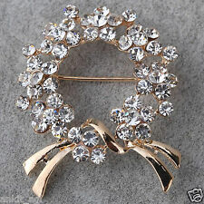 Stile Beautiful 9K Yellow Gold Filled Crystal Imitation Fashion Brooch Women