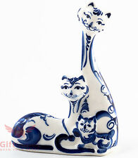 Kitty cats family Collectible Gzhel Porcelain Figurine hand-painted
