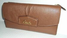 Coach F48062 Ashley Leather Checkbook Wallet Saddle Brown Retails $248