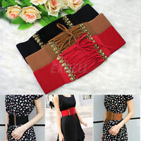 Fashion Women Lady Rivet Elastic Buckle Wide Waist Belt Waistband Corset Sexy