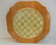 """Vintage MacKenzie - Childs Checked Wooden Charger 11"""" Painted Gold Leaf 1983"""