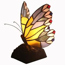 Bieye Tiffany Style Stained Glass Butterfly Accent Table Lamp Handcraft Animal