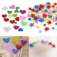 30Pcs Assorted Glitter Heart Star Round Flower Foam Stickers Xmas Card Scrapbook